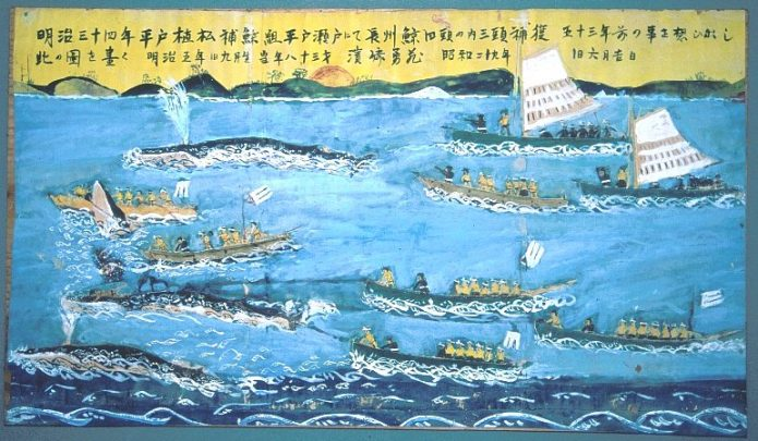 Tablet showing Meiji era whaling