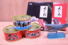 Whale souvenirs, including canned whale, for sale at Oshika Whale Land