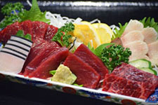 Whale sashimi on sale at Oshika Whale Land